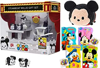 Tsum Tsum Boat & Figure Exclusive Mickey Steamboat Willy Mini Pack Stackers Mickey & Minnie Mouse + Mickey Classic Small Plush Classic Shaped Book Pals 3 Items
