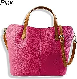Women's Handbag for Female Fashion PU Leather Bucket Handbags Women Bags Shoulder Bag (Color : Pink)