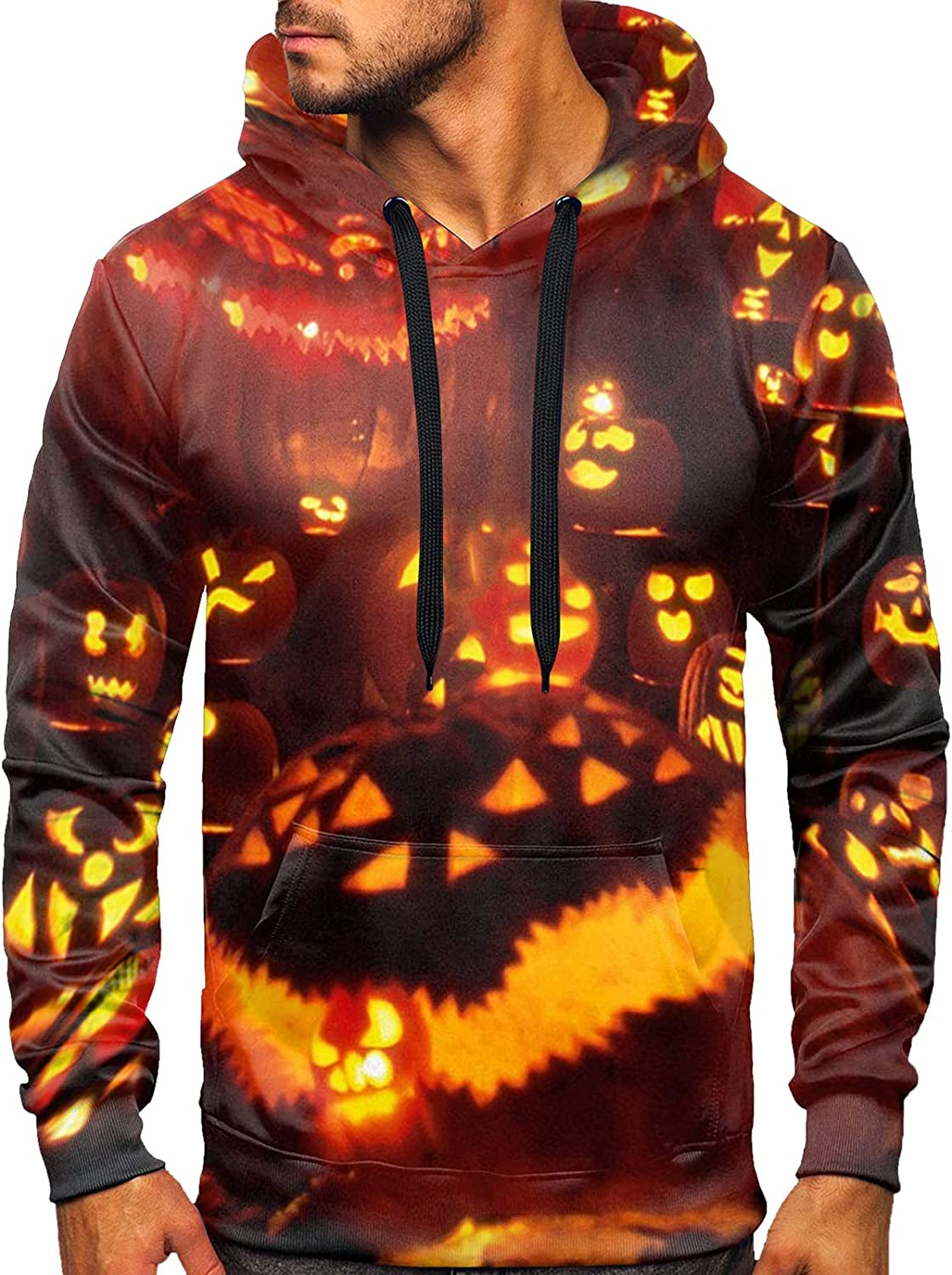 VEZARON Men's Casual Pullover Hooded Sweatershirts Halloween Funny 3D Digital Printed Patchwork Sweater Long Sleeve Top