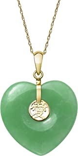 14k Gold Natural Jade Heart Charm Necklace Pendant