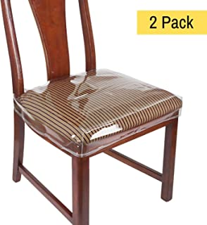 "Houseables Chair Seat Covers, Plastic Cover, Fits 16"" – 18"" Seats, 2 Pack, Clear, Adjustable, PVC, Waterproof Protector, Vinyl, Kids Chairs Slipcover, for Dining Room, Kitchen, Cushion, with Straps"