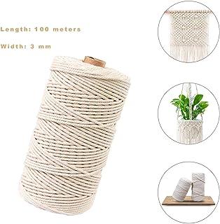 Hecha a Mano Craft Cuerda,Cordel de Algodón,natural trenzado algodon,Hilo Macramé,para Envolver Regalo Navidad Colgar Fotos Manualidades Costura (100M-3mm)