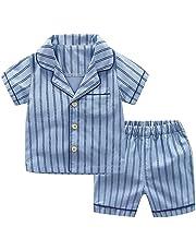 8d19cd0033e45 キッズ シャツ +ショーツ セット男の子 女の子 半袖 縞模様トップス Tシャツ ショートパンツ 2