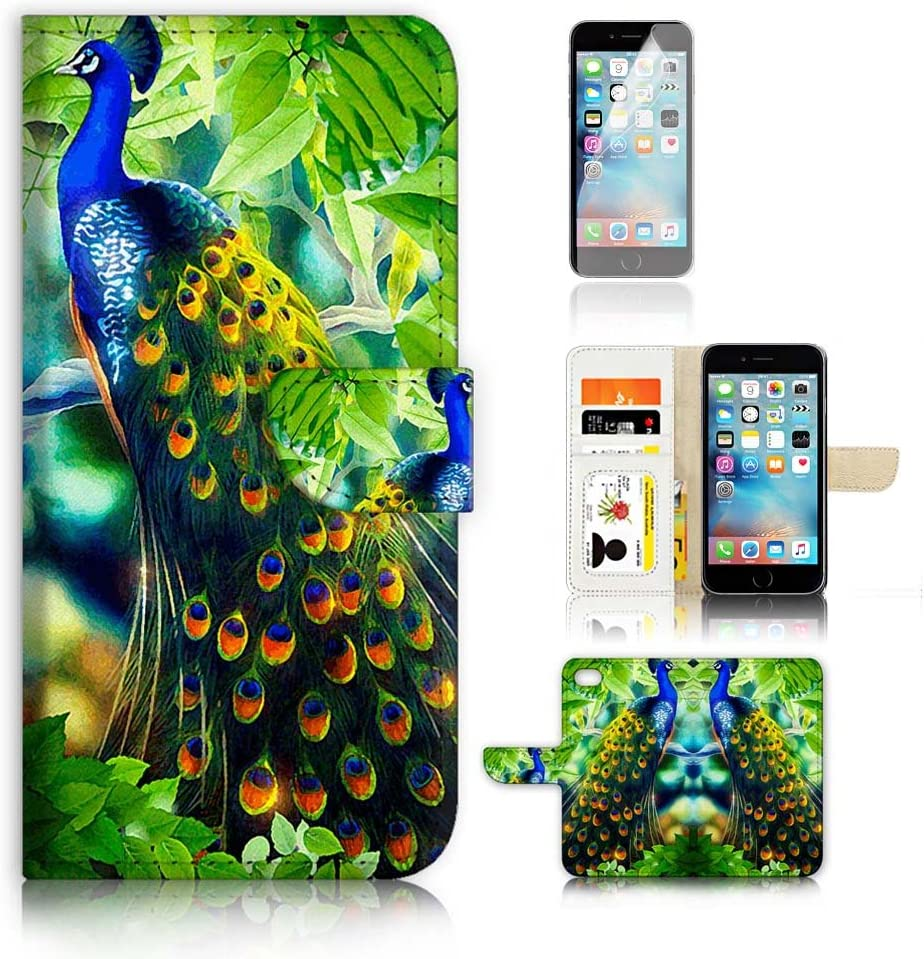 ( For iPhone 6 Plus / iPhone 6S Plus ) Flip Wallet Case Cover and Screen Protector Bundle A4112 Peacock