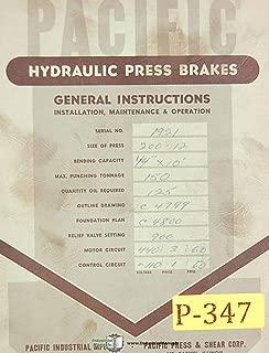 Pacific 150 Ton, Hydraulic Press Brake, 200-12 Setup and Operations Manual
