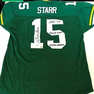 Bart Starr Autographed Jersey - HOF 1977 Super Bowl MVP Inscribed - JSA Certified - Autographed NFL Jerseys