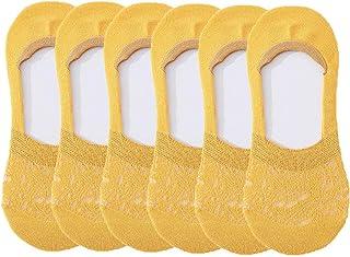 Calcetines finos para mujeres, no se muestran, forro de corte bajo, antideslizantes, calcetines invisibles de encaje invisible, zapatillas de deporte planas, yoga, ballet, 6 pares,Amarillo,One size