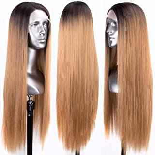 Persephone Glueless L Part Blonde Lace Front Wigs Ombre with Dark Roots Straight Synthetic Wig Long with Side Part Ombre Honey Blonde Lace Wigs for Women 24 Inches