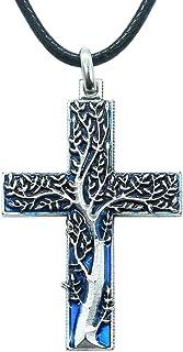 Croce Albero della Vita Azzurro - Pendente placcato argento con collana – Idea Regalo portafortuna per donna, pensierino a...