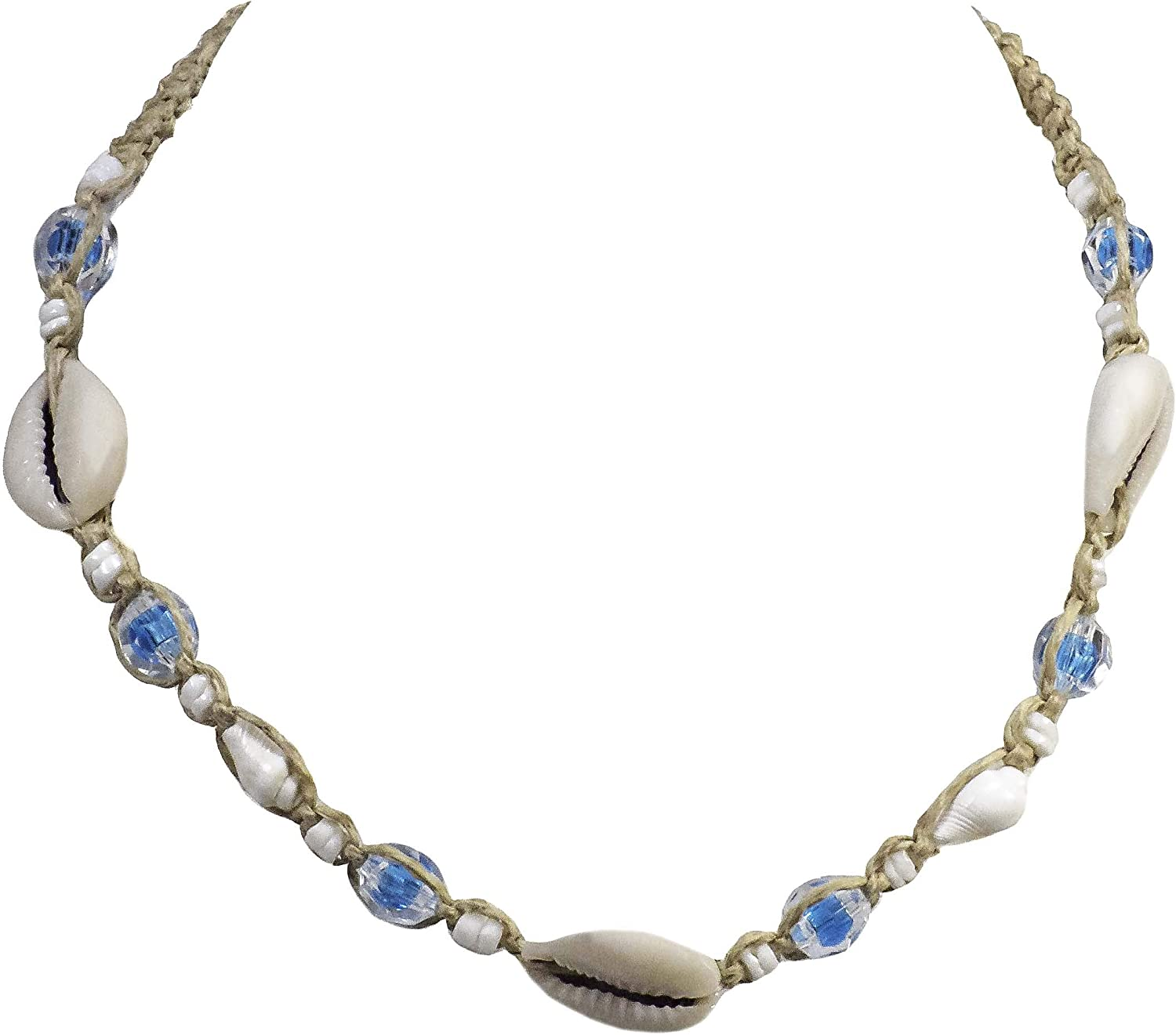 BlueRica Braided Hemp Cord Choker Necklace with Cowrie Shells, Puka Shells and Light Blue Clear Beads