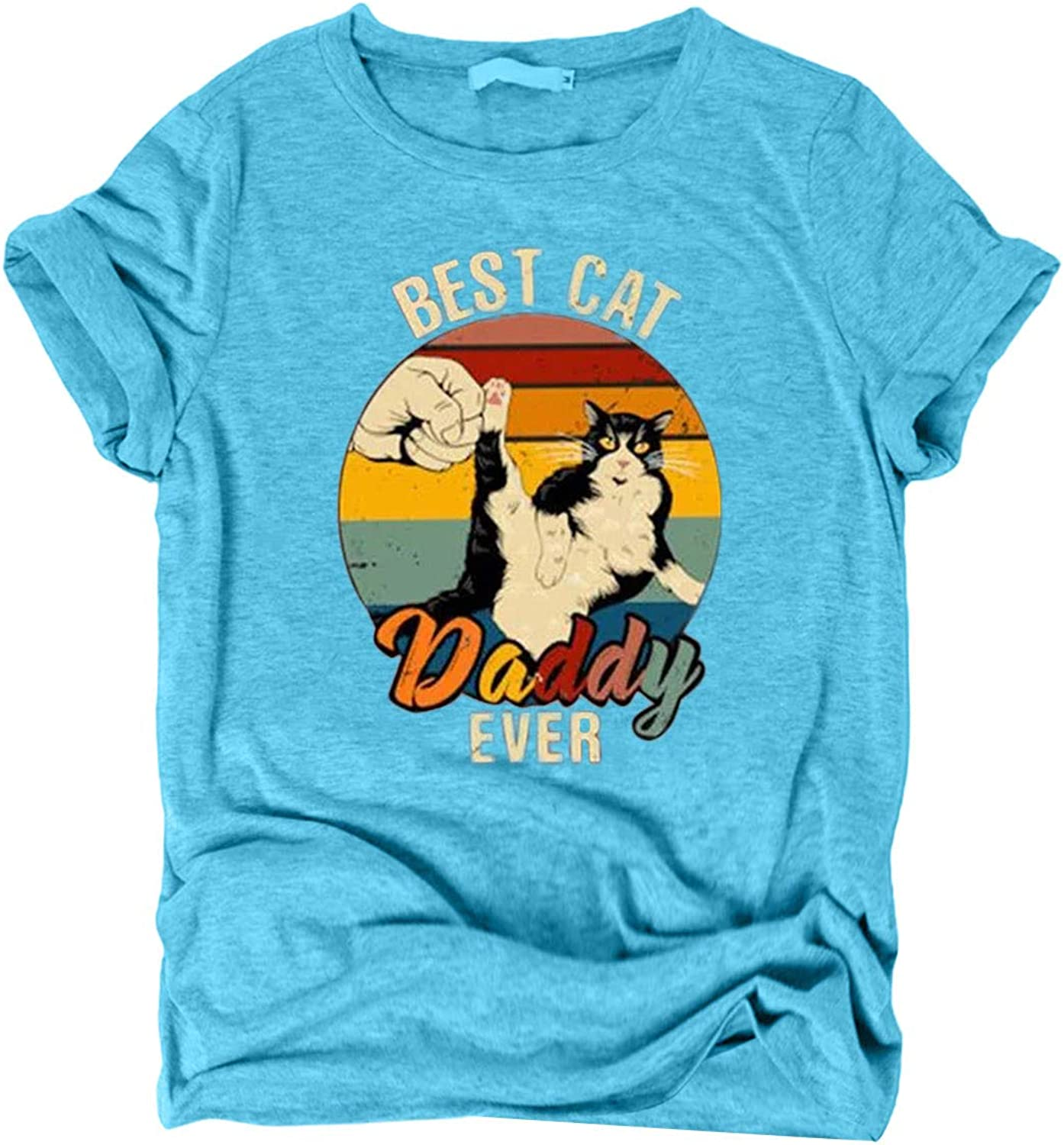 Best Cat Daddy Ever T-Shirt Women Letter Print Cat Fist Graphic