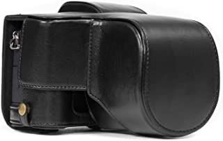 MegaGear MG892 Ever Ready läder kameraväska med rem kompatibel med Panasonic Lumix G80, G81 (12–60 mm) – svart