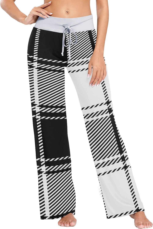 Comfy Lounge Pants Women Black White Plaid Texture Womens Pajama