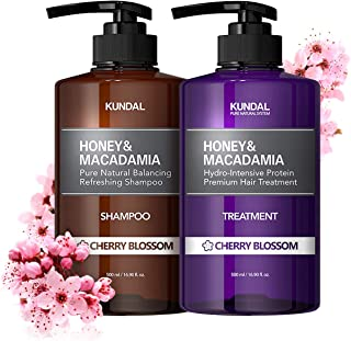 KUNDAL Korean Shampoo and Conditioner Set for Curly Damaged Color-treated, Cherry Blossom, Sulfate Free & Paraben Free 16....