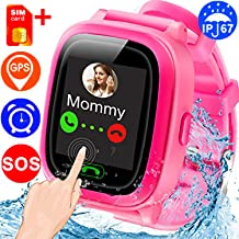【New Version SIM Card Kids Smartwatches】GPS Tracking Locator, Waterproof IP67 Smart Watch Phone SOS,Alarm Clock,Touch Screen,Remote APP Wristwatch for 3-12 Boys Girls Christmas Holiday Toy Gifts