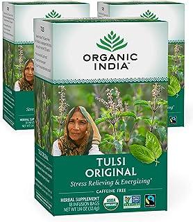 Organic India Tulsi Original Herbal Tea - Stress Relieving & Energizing, Immune Support, Adaptogen, Vegan, ...
