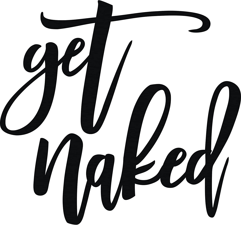 "Vivegate Get Naked Sign – 18"" X 25"" Get Naked Sign for Bathroom Wall Decor Bath Word Art Decals Black Metal Letters"