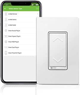 TOPGREENER Smart Dimmer Switch, UL Listed, In-Wall Installation, Single Pole, NEUTRAL Wire Required, Works with Alexa and Google Assistant, TGWF500D