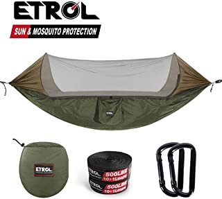 ETROL Upgraded 2 in 1 Large Camping Hammock with Mosquito Net, Pop-Up Lightweight Portable Hanging Hammocks with Tree Straps, Swing Sleeping Hammock with Net for Outdoor, Hiking, Backpacking,
