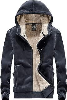 MAGCOMSEN Men's Winter Thicken Fleece Sherpa Lined Hoodie Sweatshirt Jacket Parka with Zipper Pockets