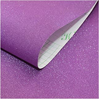 HaokHome 98001-3 Sparkly Glitter Contact Paper Peel and Stick Wallpaper Purple 17.7