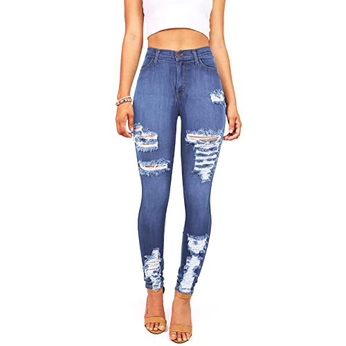 436453b8 Vibrant Women's Juniors High Waist Jeans Stretchy Ripped Jeans