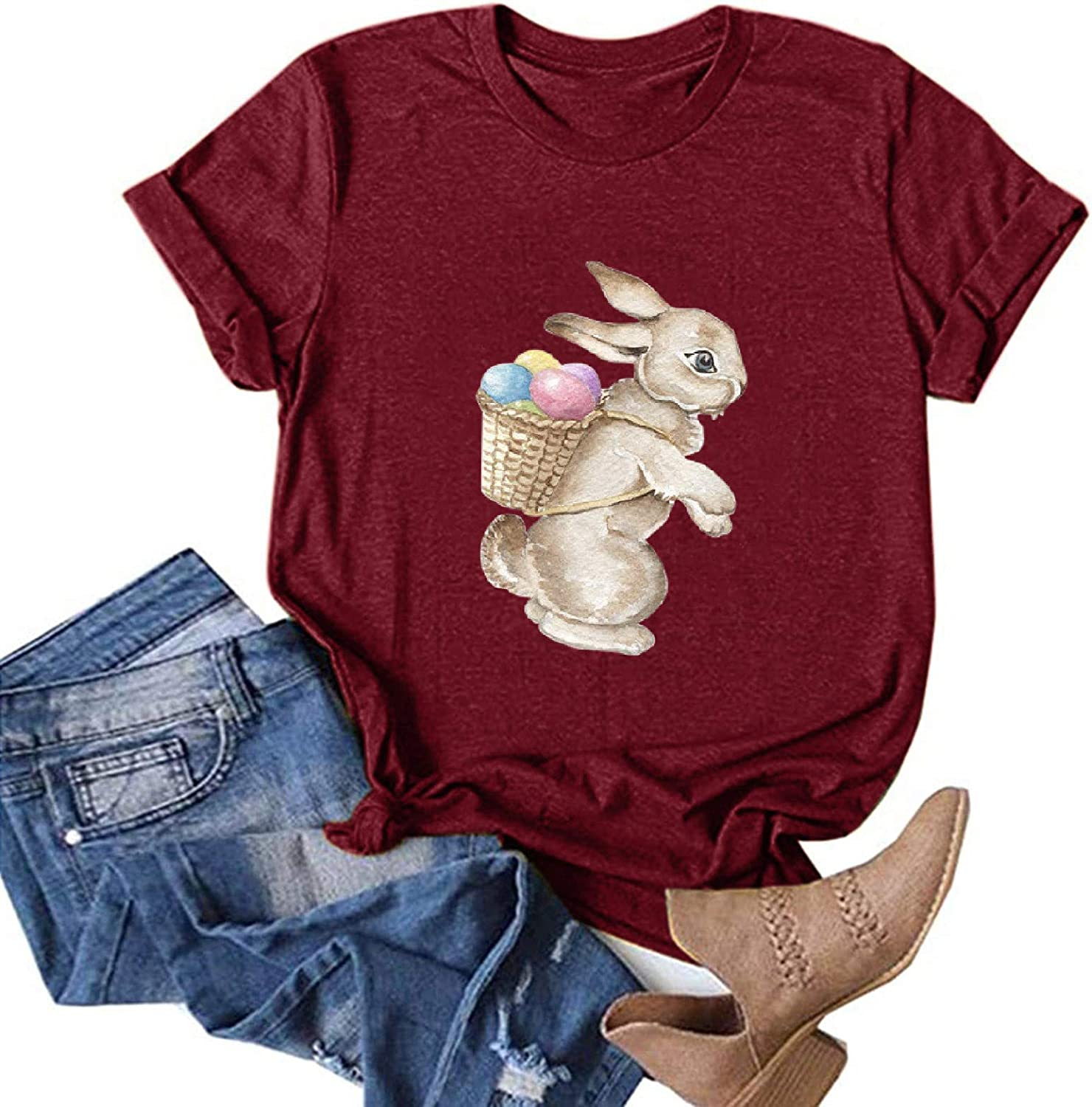 Tshirts for Womens,Women's Easter T Shirts Casual Summer Tops with Flowy Sleeve