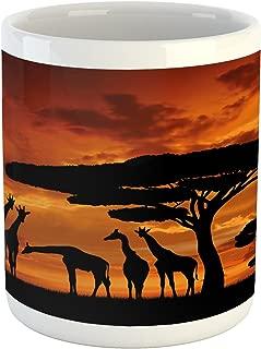 Lunarable Africa Mug, Safari Animal with Giraffe Crew with Majestic Tree at Sunrise in Kenya, Ceramic Coffee Mug Cup for Water Tea Drinks, 11 oz, Orange Black