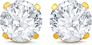 1/2 Carat Diamond Stud Earrings (I2I3 Clarity, JK Colour) 14kt Yellow Gold