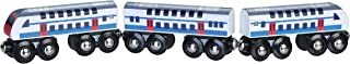 Double Decker Wooden Train with 2 Engines & 1 Car. Multi-Level Commuter Passenger Transit Toy. Detailed, Bright Vivid Colors, Fun for Kids 3 and Up. Universally Compatible