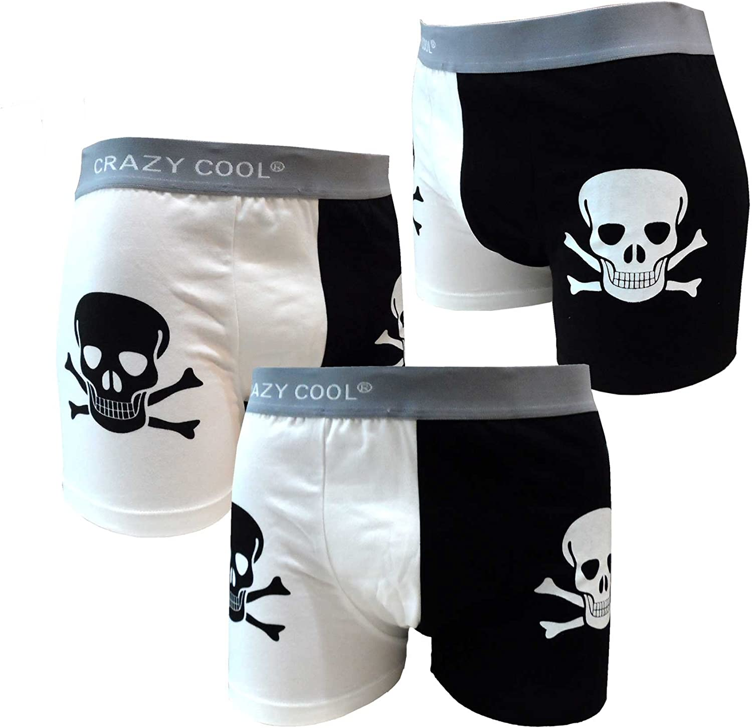 Crazy shopping Cool Cotton Boxer Outlet SALE Briefs Underwear for Skull Men 3-Pack