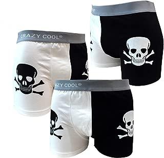 Crazy Cool Cotton Boxer Briefs Underwear for Men 3-Pack, Skull, Dots, Plain