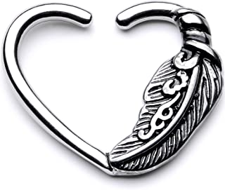 Body Candy 10mm Body Piercing Jewelry Stainless Steel 16G Closure Daith Cartilage Feather Heart Tragus Earring 3/8