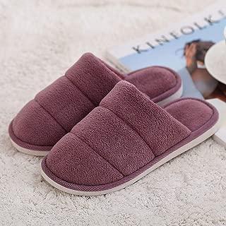 Couple Warm Cotton Slippers, Non-Slip Home Soft Shoes, Men's Convenient Bottom Slippers Soft (Color : Gray, Size : UK7.5-UK8.5) No brand (Color : Purple, Size : UK4.5-UK5)