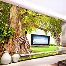 3D Wall Stickers & Murals Self-Adhesive Removable Wall Mural Stick Wallpaper Non-Woven Fabric Wallpaper For Walls Roll Large Tree Giraffe Nature Landscape Living Room Size:128cmX100cm/50.39x39.37inch