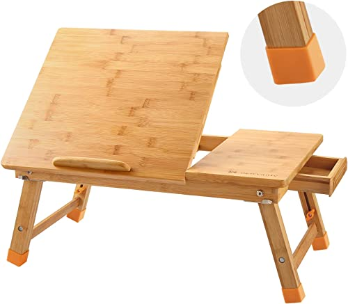 Laptop Desk Newvante Table Adjustable 100% Bamboo Foldable Breakfast Serving Bed Tray w' Tilting Top Drawer