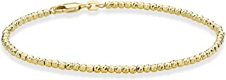 18 Karat Gold Over Sterling Silver Diamond-Cut 2.5mm Bead Ball Chain Bracelet or Anklet for Women Girls 6.5, 7, 8, 9, 10 Inch 925 Jewelry Made in Italy