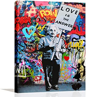 ARTSPIRIT Wall Art for Living Room Bedroom Bathroom Decor Einstein Poster Love is The Answer Oil Painting Print Abstract Street Graffiti Art Inspirational Canvas Artwork Framed Painting Ready to Hang
