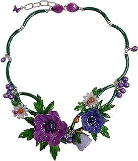 Surja Handmade in Italy - COLLIER ANEMONI E MARGHERITINE - realizzato artigianalmente con anemoni, foglie di anemone, marg...