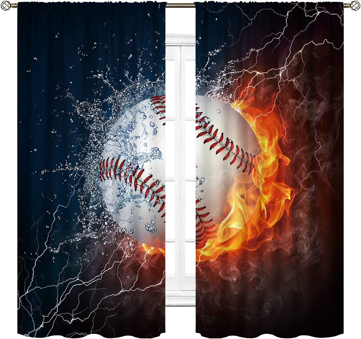 Cinbloo Sports discount BaseballCurtains Rod Pocket Fire Oklahoma City Mall Ball F in Water