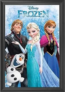 Frozen Disney Movie Wall Art Decor Framed Print   24x36 Premium (Canvas/Painting Like) Textured Poster   Princess Elsa, Olaf, Anna & Kristoff Kids Photo   Memorabilia Gifts for Guys & Girls Bedroom