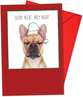 12 'Dogs and Doodles Bulldog' Boxed Christmas Cards with Envelopes 4.63 x 6.75 inch, Puppies and Illustrations Holiday Notes, Christmas Doggies with Santa Hats in Black and White Sketches B6582AXSG