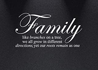 Innovative Stencils 1134 24 mwhite  Family Like Branches on a Tree Wall Decal Sticker Quote, 24 and 34-Inch wide by 12 and 34-Inch High, Matte White
