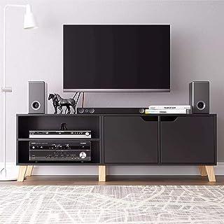 Lwieui Mesas para TV Moderno Soporte de TV Centro CONSOLO con LOS LOCHERS Sofa Mesa LUZ Negro (Color : Black, Size : 140x4...