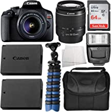 Canon EOS Rebel T7 Body Only with Canon EF-S 18-55mm f/3.5-5.6 III Lens & Essential Accessory Bundle - Includes: SanDisk Ultra 64GB SDXC Memory Card, Extended Life Replacement Battery (LP-E10) & More