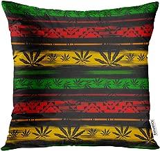Golee Throw Pillow Cover Green Jamaica Abstract from Marijuana Cannabis on Rastafarian Colors Jamaican Reggae Decorative Pillow Case Home Decor Square 18x18 Inches Pillowcase
