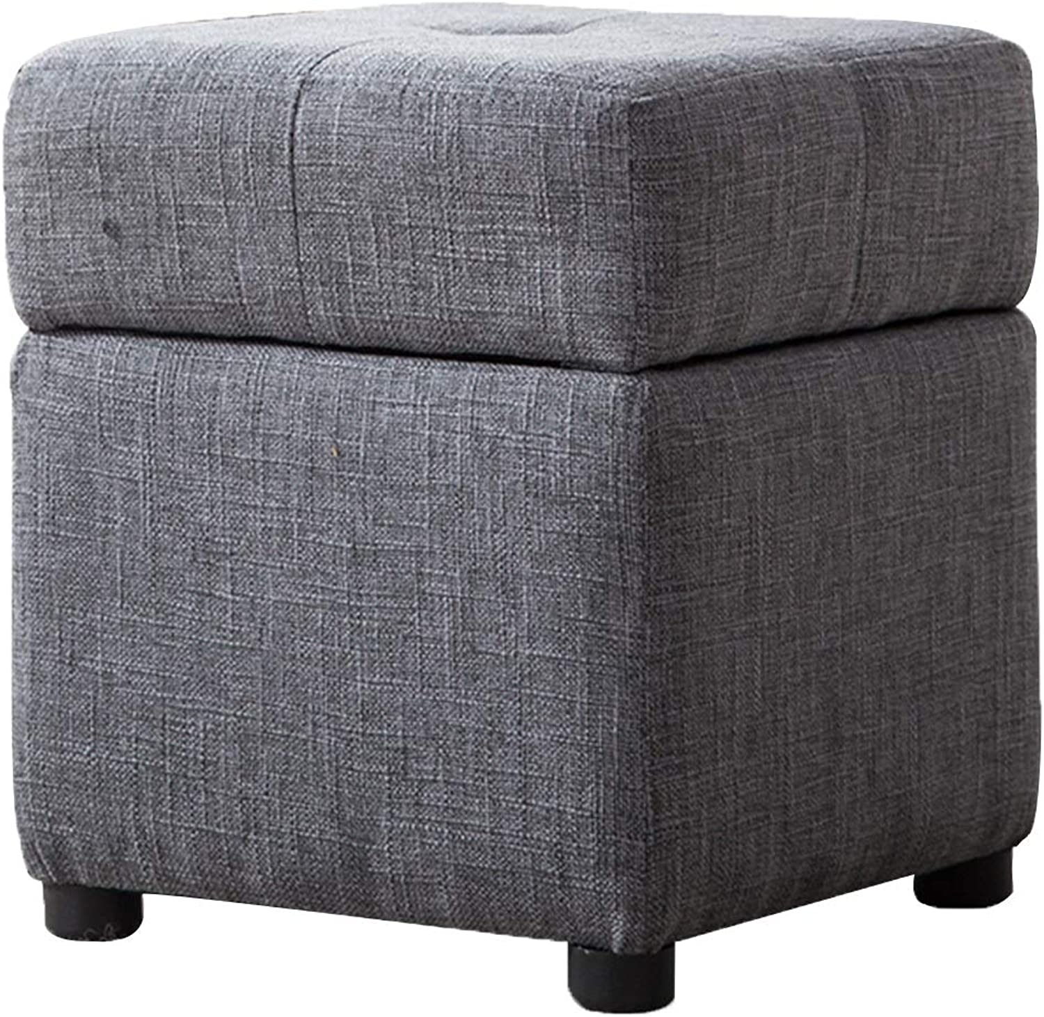 BYPING Pouffes and Stool Upholstered Footstools Square Structure Solid Wood Storage Bedroom Cotton Pad Cozy, 4 colors (color   A, Size   30X30X36CM)