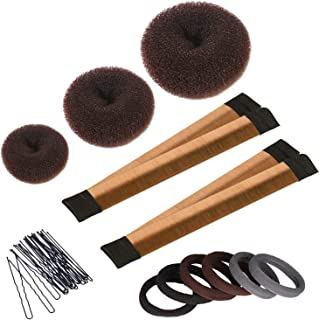 Hair Bun Maker Set, 3 Pieces Donut Bun Maker, 2 Pieces Instant Hair Snap Bun Maker, 20 Pieces Hair Bobby Pins, Hair Bun Styling Kit for Girls Women, Brown
