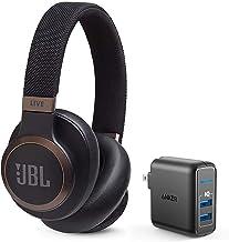 JBL Live 650 BT NC نویز بیش از حد گوش را لغو می کند بسته هدفون بی سیم بلوتوث با شارژر دیواری USB Anker PowerPort Elite 2 - سیاه