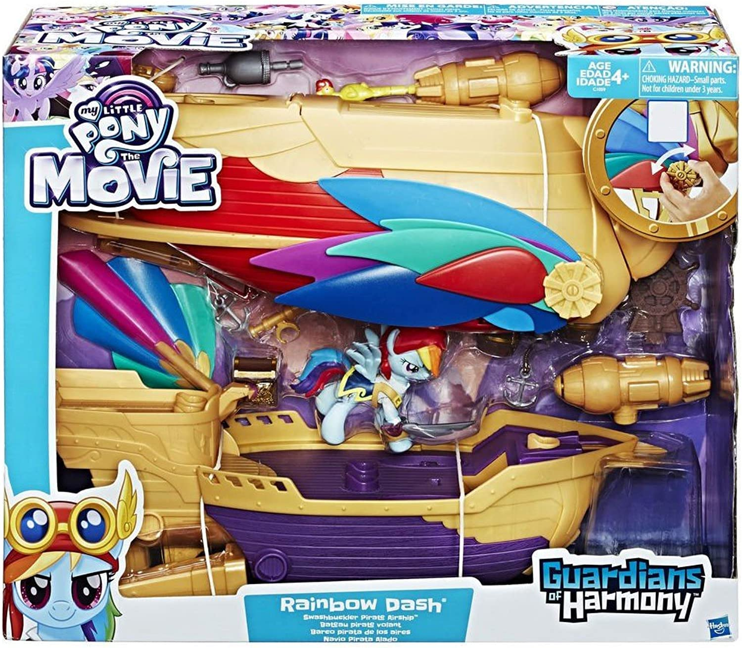 My Little Pony  The Movie - Rainbow Dash - Swashbuckler Pirate Airship - Includes Vehicle, Rainbow Dash Figure, and 12 Accessories.